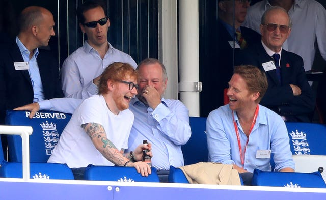 Ed Sheeran watched England-Australia at Lord's last month (Adam Davy/PA)