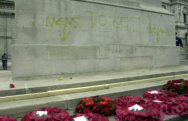Graffiti on the base of the Cenotaph