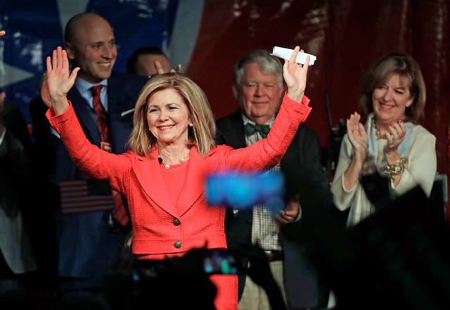 Marsha Blackburn greets supporters after she was declared the winner over Phil Bredesen in Tennessee