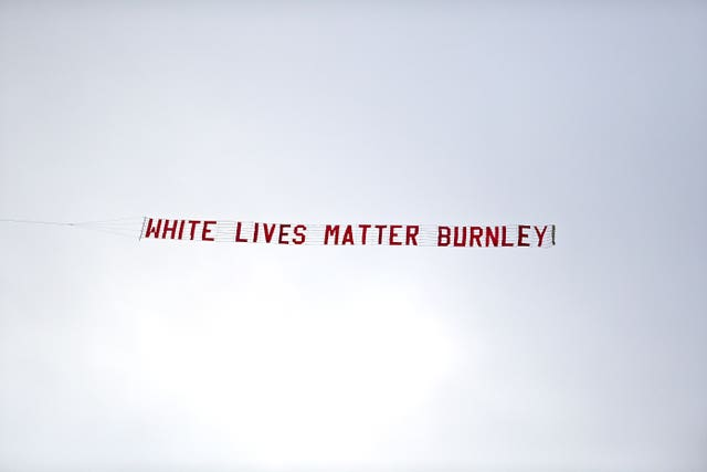 A White Lives Matter banner was flown over the Etihad Stadium on Monday night