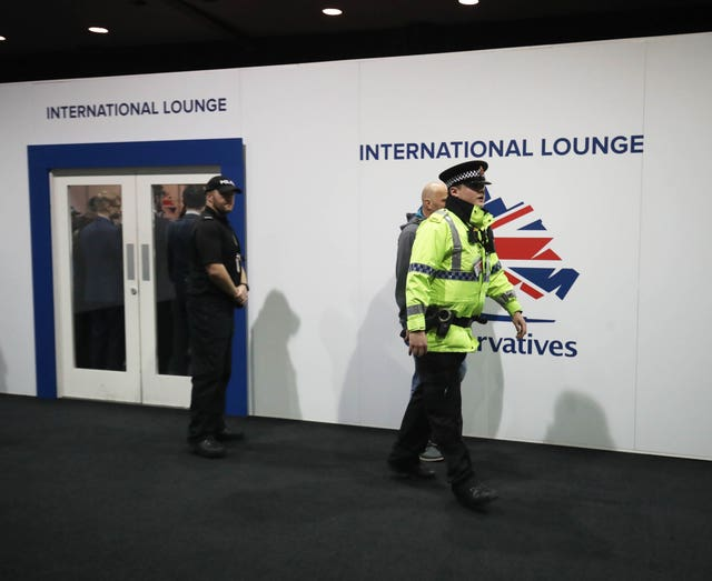 Police arriving at the Conservative Party Conference