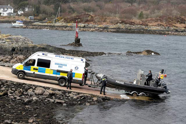 An underwater unit boat enters the water on Loch Fyne (Andrew Milligan/PA)