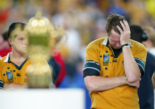 Heartbreak for Australia's Justin Harrison as he sees his country lose the 2003 Rugby World Cup by just four points
