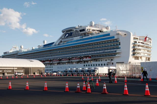 The quarantined cruise ship Diamond Princess anchored at Yokohama Port, near Tokyo