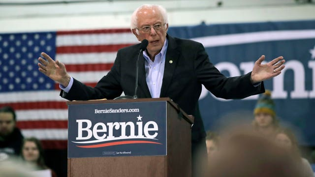 Democratic presidential candidate Bernie Sanders gestures during a campaign stop at Franklin Pierce University in Rindge, New Hampshire