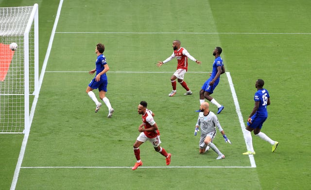 Aubameyang scored twice as Arsenal came from behind to beat Chelsea in the FA Cup final last season.