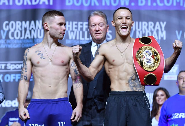 Carl Frampton, left, is the betting favourite on Saturday night (Anthony Devlin/PA)