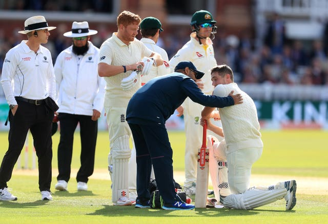Chris Woakes was hit on his lid shortly before being caught behind