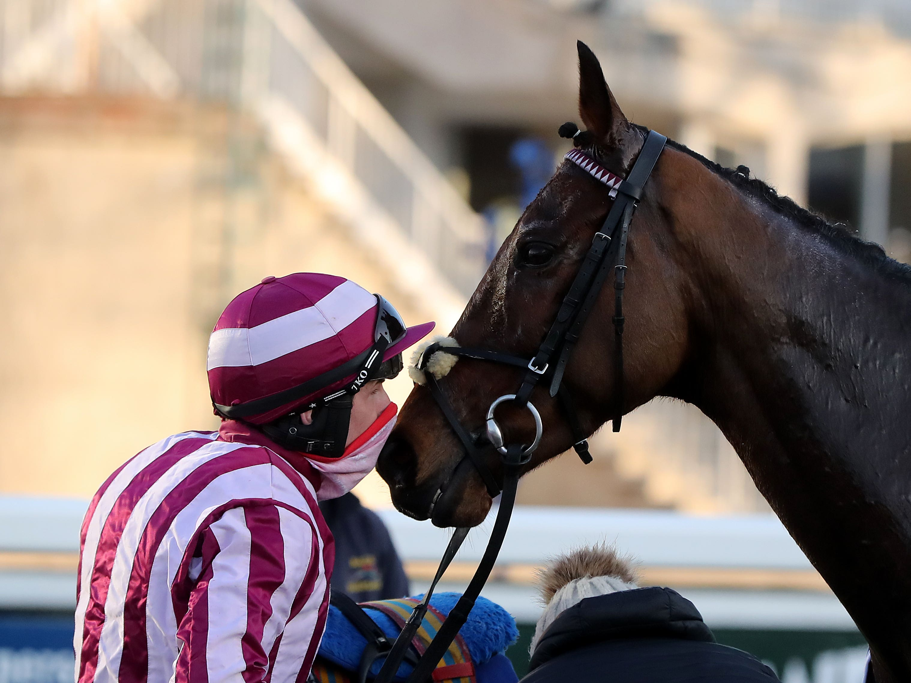 Mitchouka and Ricky Doyle after their Leopardstown win (Niall Carson/PA)