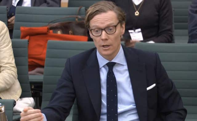 Chief executive of Cambridge Analytica Alexander Nix giving evidence to a Commons Digital, Culture Media and Sport Committee inquiry (PA)