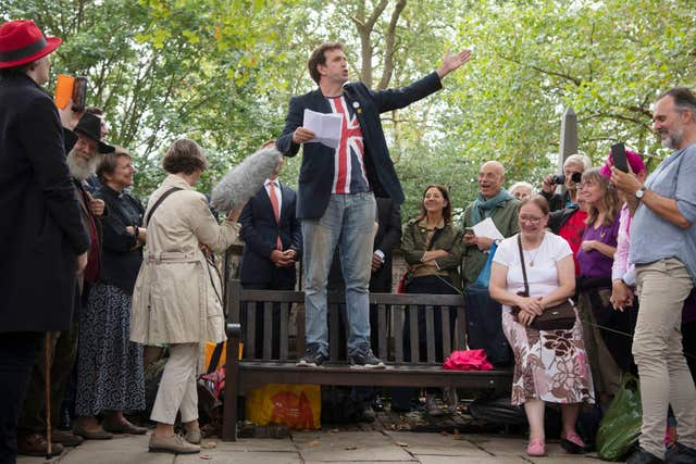 Comedian Will Franken speaks ahead of the unveiling of a headstone for William Blake at Bunhill Fields in London