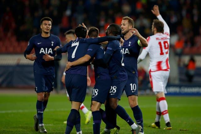 Tottenham celebrate Giovani Lo Celso's opener
