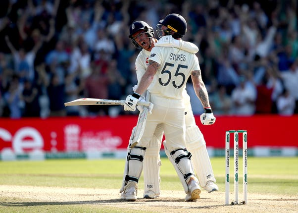 Jack Leach, left, played a key role in helping England to victory at Headingley (Tim Goode/PA)