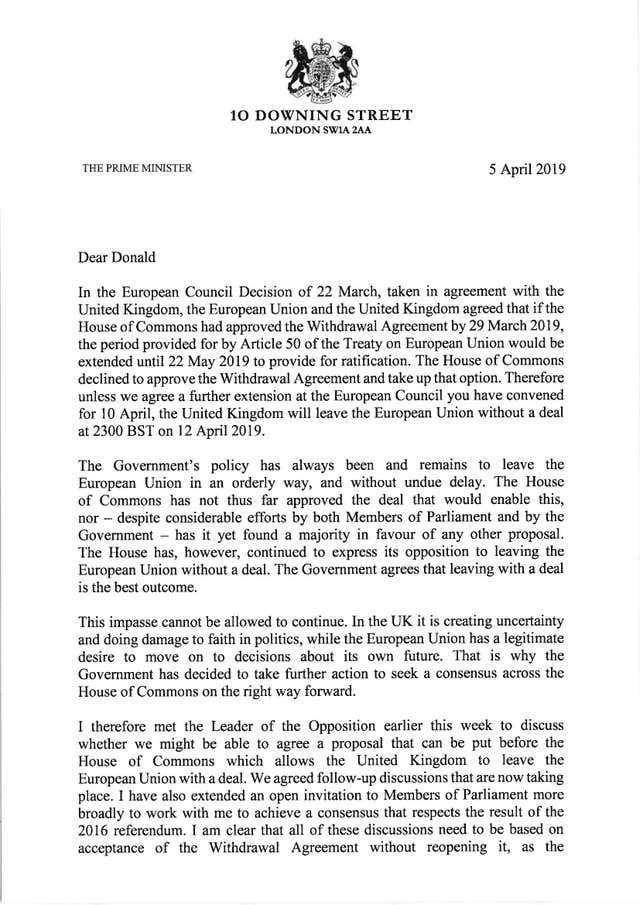 Page one of the letter Theresa May has sent to Donald Tusk