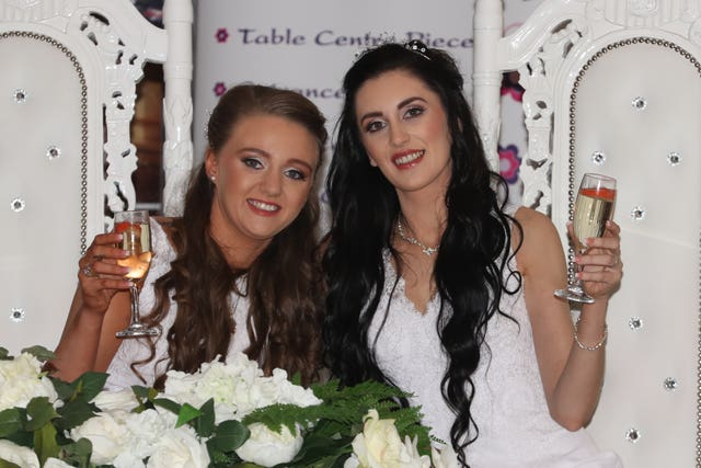 Robyn Peoples and Sharni Edwards celebrate at the Loughshore Hotel in Carrickfergus
