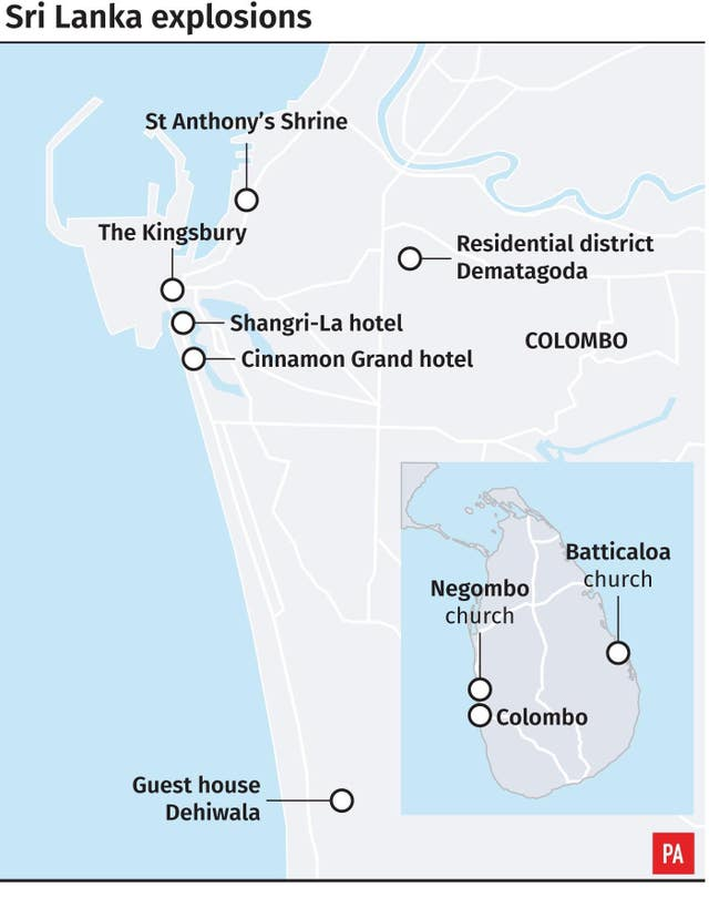 Graphic locates Easter Sunday explosions across Sri Lanka