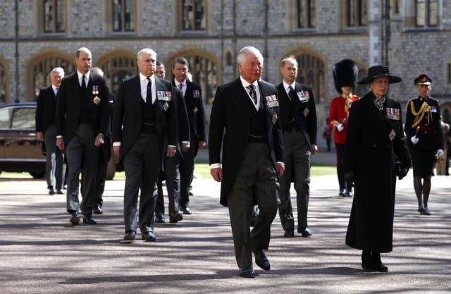 Princess Anne, Princess Royal, Prince Charles, Prince of Wales, Prince Andrew, Duke of York, Prince Edward, Earl of Wessex, Prince William, Duke of Cambridge, Peter Phillips, Prince Harry, Duke of Sussex, Earl of Snowdon David Armstrong-Jones and Vice-Admiral Sir Timothy Laurence follow the Duke of Edinburgh's coffin at Windsor Castle, Berkshire