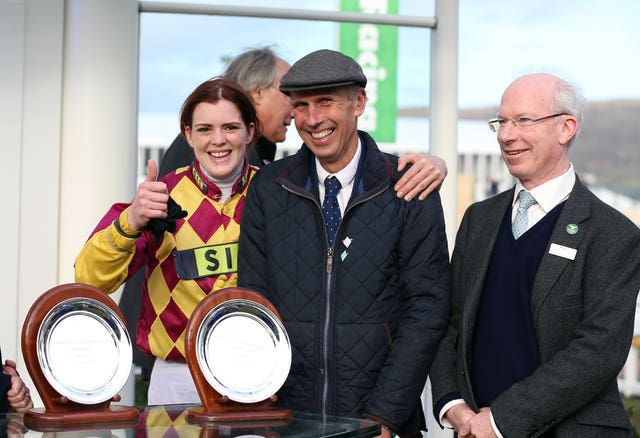 Lizzie Kelly with trainer Nick Williams