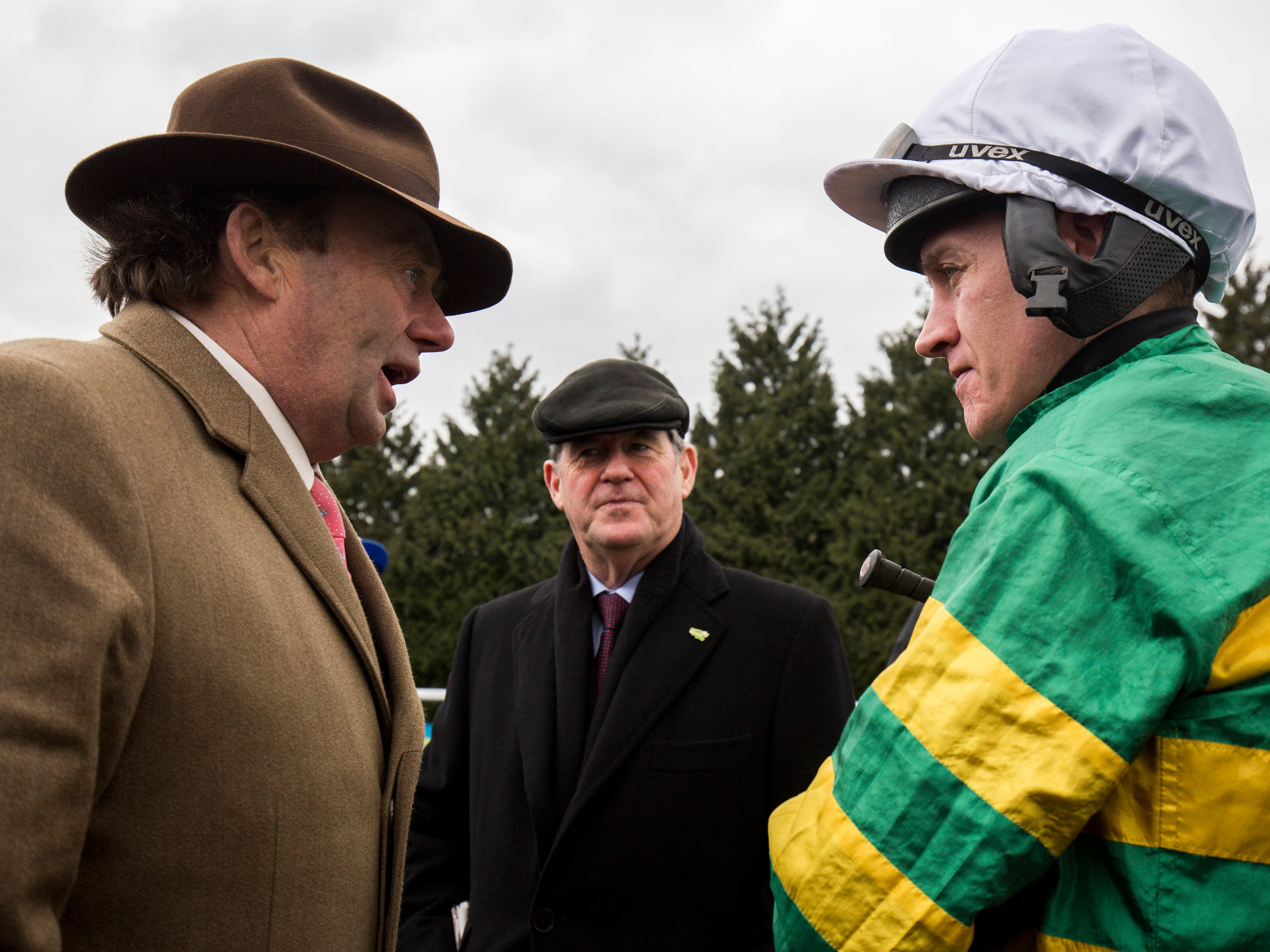 Nicky Henderson, JP McManus and Barry Geraghty are hoping for better luck this week (Julian Herbert/PA)