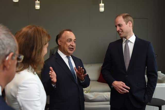 The Duke of Cambridge talks to Sir Len Blavatnik during a tour of the Blavatnik School of Government in Oxford (Joe Giddens/PA)