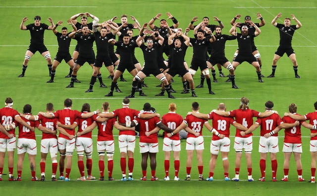 Canada face a Haka performed by defending champions New Zealand ahead of their World Cup Pool B clash in Oita, Japan. The All Blacks won the match 63-0 en route to a straightforward passage to the knockout stages of the tournament, where they were beaten in the semi-finals by England