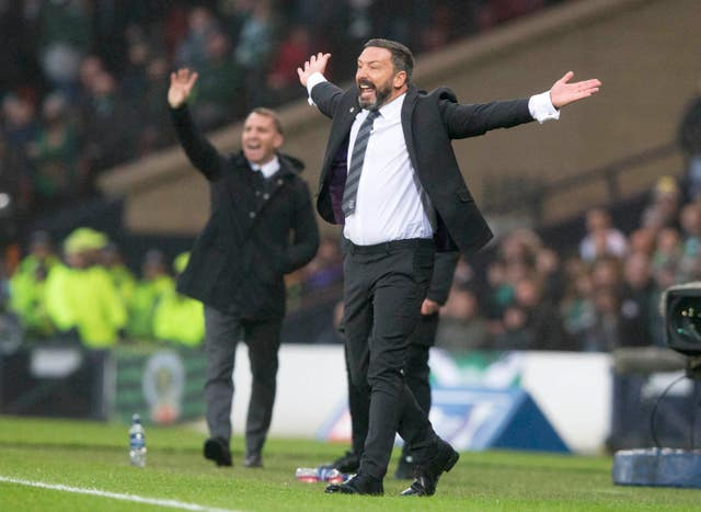 Aberdeen manager Derek McInnes, right, and Brendan Rodgers appeal for a decision