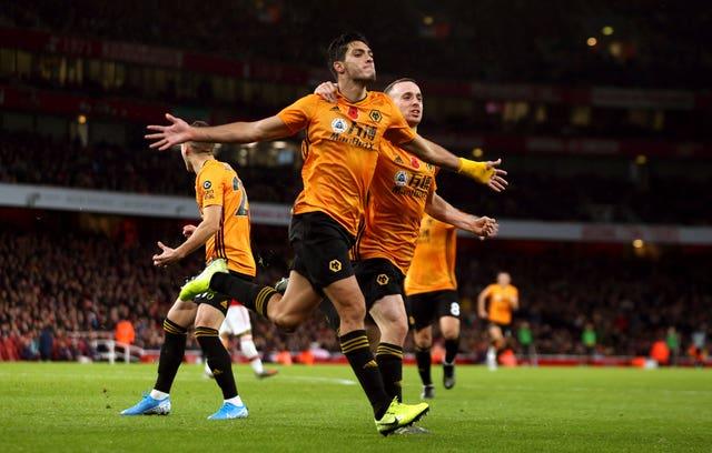 Raul Jimenez celebrates Wolves' equaliser