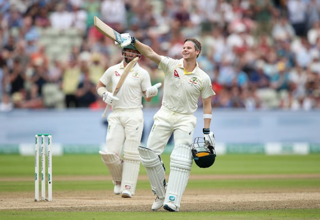 Australia's Steve Smith celebrates reaching his second century of the match (Nick Potts/PA)