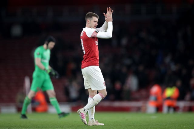 Aaron Ramsey applauds the Arsenal fans