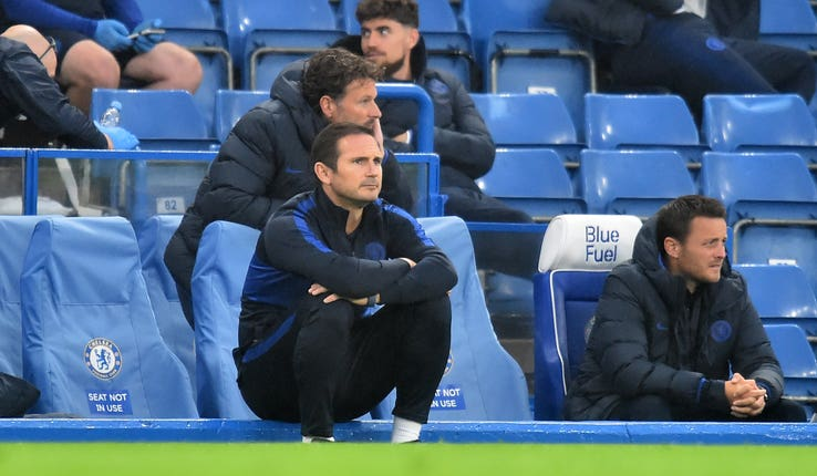 Frank Lampard watches on from the touchline during a Premier League win over Watford.