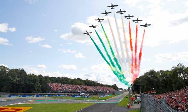 The Frecce Tricolori (Three Colours Arrows) acrobatic squadron performed prior to the race at Monza