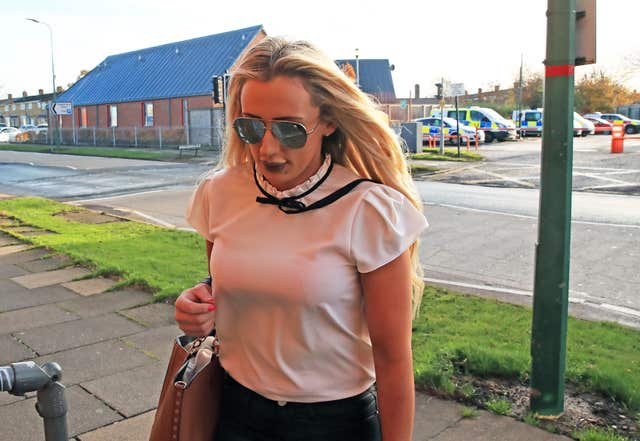 Stacey Sutherland arrives at Newton Aycliffe Magistrates' Court