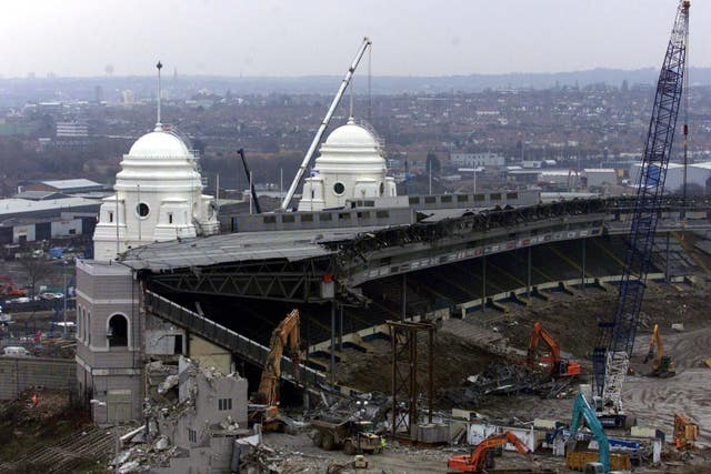 The old Wembley stadium, with its distinctive towers, was demolished to allow for redevelopment