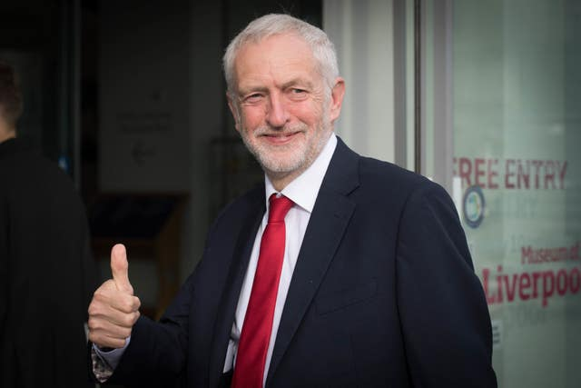 Jeremy Corbyn gives a thumbs-up
