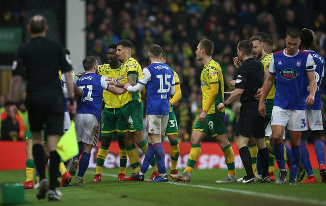 Tempers flared at the East Anglian derby as Norwich beat Ipswich 3-0. Ipswich boss Paul Lambert was dismissed in this skirmish