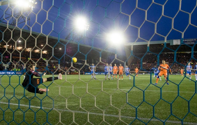James Tavernier had his penalty saved by Kilmarnock goalkeeper Daniel Bachmann during the William Hill Scottish Cup fifth round match at Rugby Park