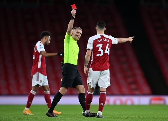 Granit Xhaka was sent off against Burnley