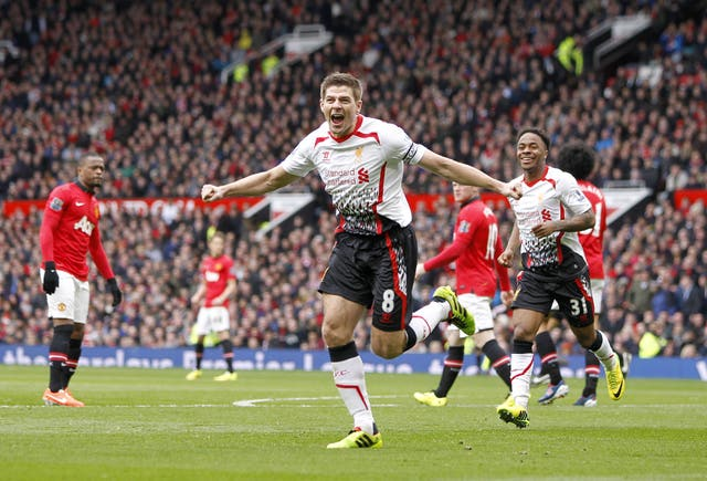 Steven Gerrard scored two penalties as Liverpool beat David Moyes' Manchester United 3-0 in March 2014.