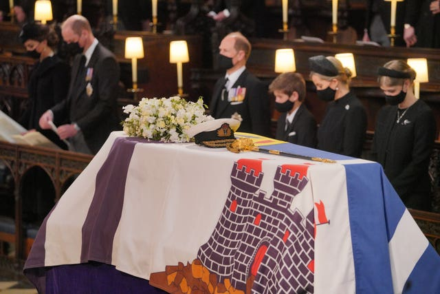 Mourner during the funeral of the Duke of Edinburgh at St George's Chapel, Windsor Castle, Berkshire