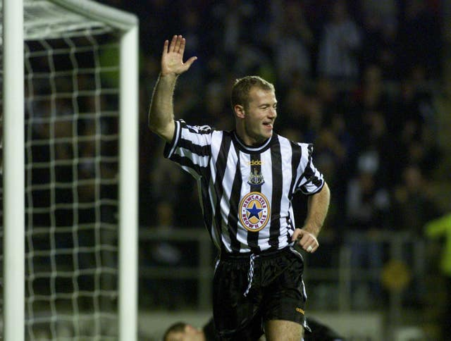 Newcastle striker Alan Shearer celebrates a goal