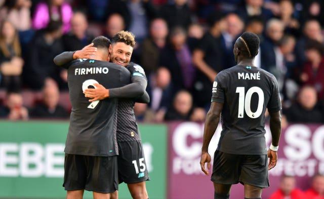 Firmino celebrates his goal at Turf Moor