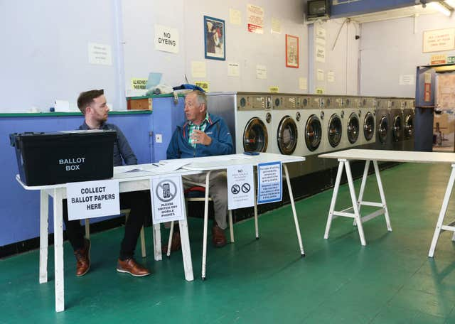A polling station inside a launderette in Oxford