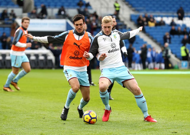 Jack Cork, left, and Ben Mee, right, are likely out for the rest of this season (Gareth Fuller/PA)