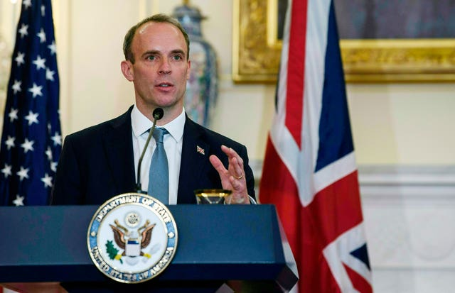 Foreign Secretary Dominic Raab during his visit to Washington