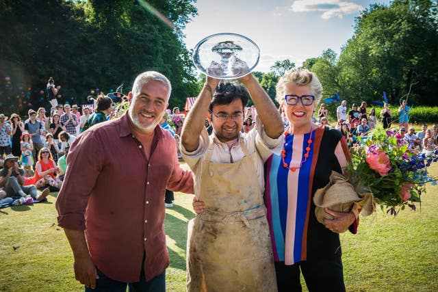 Bake Off Judges Prue Leith and Paul Hollywood with Rahul