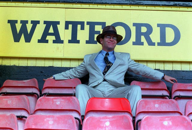 Sir Elton John in the stand at Watford's Vicarage Road ground