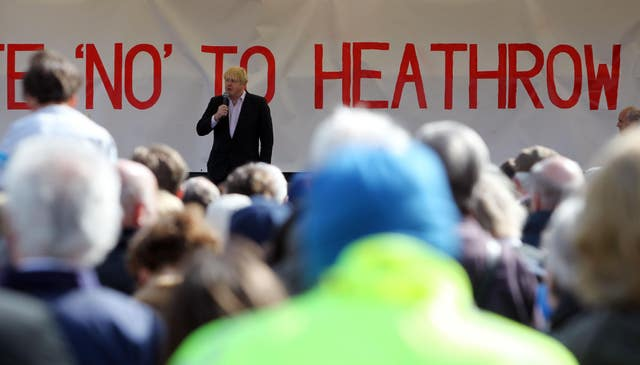 Boris Johnson addressing an anti-Heathrow expansion protest in April 2013