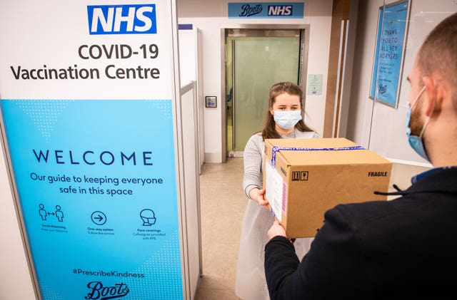The NHS Covid-19 vaccination centre at Boots, Halifax