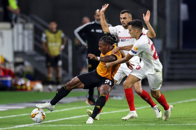 Sergio Reguilon, right, playing for Sevilla against Wolves in the Europa League