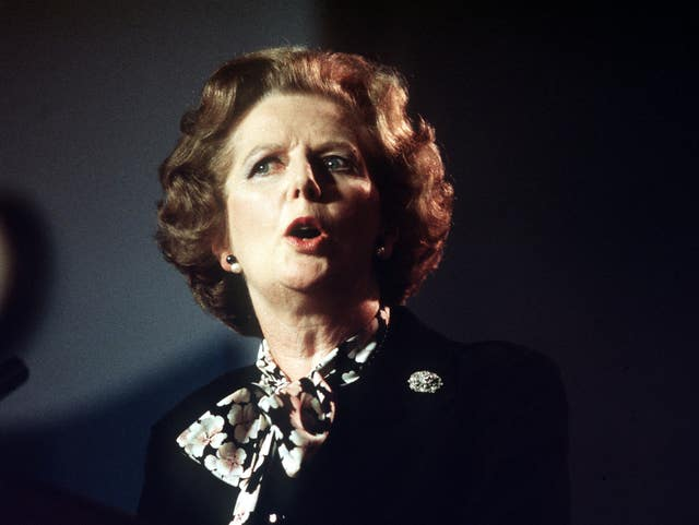 File photo dated 09/10/1985 of former prime minister Baroness Thatcher (PA).